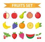 Owoc i jagod ikony set Owoc ikony set, odizolowywający na białym tle Apple, pomarańcze, bonkreta, truskawka, winogrono, arbuz, L royalty ilustracja