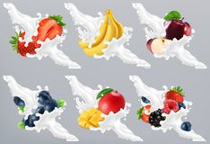 Owoc i jagody w dojnym pluśnięciu, jogurt Truskawka, banan, jabłko, czarna jagoda, mango 3d wektor ilustracja wektor