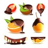 Owoc i jagody z czekoladą ilustracja wektor