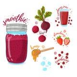 Owoc i warzywo koktajl dla zdrowego życia Smoothies z burakiem, miodem, cranberry i truskawką, Przepisu jarosz Zdjęcia Stock