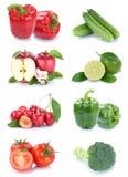 Owoc i warzywo kolekci jabłek wiśni odosobniony pomidor Zdjęcia Stock
