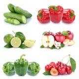 Owoc i warzywo kolekci jabłek dzwonkowego pieprzu odosobniony col Zdjęcie Stock