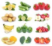 Owoc i warzywo kolekci jabłek odosobneni pomidory bananowi Zdjęcie Royalty Free
