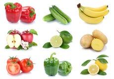 Owoc i warzywo kolekci jabłek odosobneni pomidory bananowi Zdjęcia Royalty Free