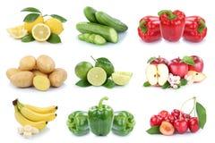 Owoc i warzywo kolekci jabłek odosobnione grule bananowe Zdjęcie Royalty Free