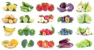 Owoc i warzywo kolekci jabłek pomidorów odosobniony lettuc Fotografia Stock