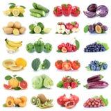 Owoc i warzywo kolekci jabłek pomidorów odosobniony strawb Obraz Stock