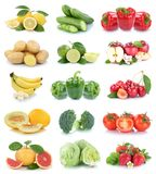 Owoc i warzywo kolekci jabłek pomidorów odosobniony strawb Obrazy Royalty Free