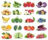 Owoc i warzywo kolekci jabłek pomidorów odosobniony strawb Obrazy Stock
