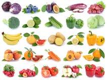 Owoc i warzywo kolekci odosobneni jabłczani pomarańczowi winogrona co Obraz Royalty Free