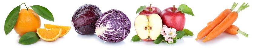 Owoc i warzywo kolekci odosobnione jabłczane marchewki z rzędu Obrazy Royalty Free
