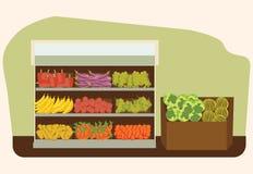 Owoc i warzywo półka z świeżym zdrowym jedzeniem w supermarkecie Obrazy Stock