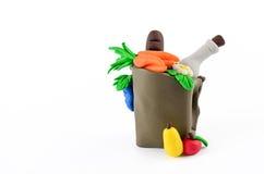 Owoc I Warzywo w sklep spożywczy torby klingerytu statui Zdjęcie Royalty Free