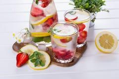 Owoc i ziele natchnąca woda Zimna odświeżająca witaminy detox woda Zdjęcie Royalty Free