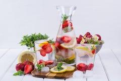 Owoc i ziele natchnąca woda Zimna odświeżająca witaminy detox woda Zdjęcia Stock