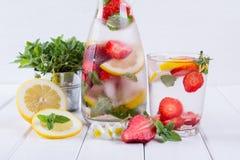 Owoc i ziele natchnąca woda Zimna odświeżająca witaminy detox woda Fotografia Royalty Free