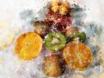 Owoc ilustracyjne z pluśnięcie akwareli textured tłem niezwykła ilustracyjna akwarela royalty ilustracja