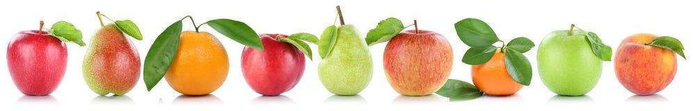Owoc jabłek brzoskwini jabłczane pomarańczowe owocowe pomarańcze odizolowywać z rzędu Zdjęcie Royalty Free