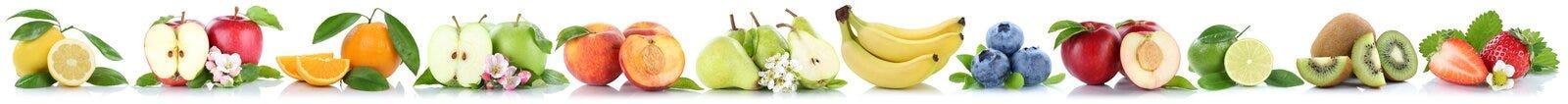 Owoc jabłek pomarańcz jabłczani pomarańczowi banany odizolowywający dalej z rzędu Zdjęcia Stock