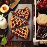 Owoc, jagodowy dżem i kawałki owocowy tarta Obraz Royalty Free