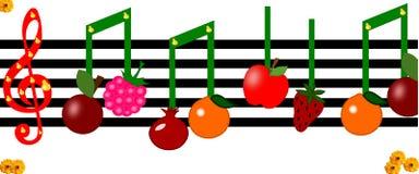 Owoc jak notatki na muzykalnej postaci Fotografia Royalty Free