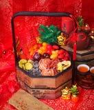 owoc konserwowali Wysuszone owoc z chińskim nowego roku tłem obrazy stock