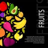 Owoc na czarnym tle Ilustracja z przestrzenią dla twój teksta royalty ilustracja