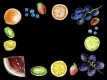 Owoc odgórnego widoku rama Zdrowy karmowy plakat ilustracji
