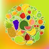 Owoc Round skład na Kolorowym Zamazanym tle ilustracji
