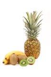 Owoc skład. Bananowy ananas i kiwi. Obrazy Stock