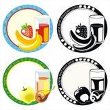 owoc szklane soku etykietki ilustracji
