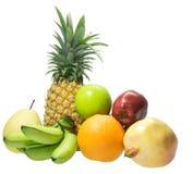 Owoc ustawiać na białym odosobnionym ananasie, jabłko, banan, granatowiec Zdjęcie Stock
