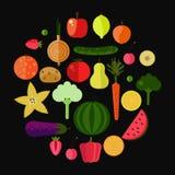 owoc ustawiający wektorowi warzywa Fotografia Royalty Free