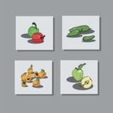 owoc ustawiają warzywa royalty ilustracja