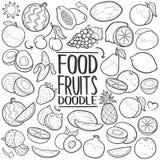Owoc warzyw doodle ikony ręki remisu Zdrowy Karmowy Tradycyjny set royalty ilustracja
