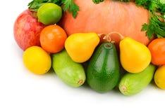 Owoc, warzywa i ziele na białym tle, Zdjęcia Stock