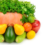 Owoc, warzywa i ziele na białym tle, Obrazy Royalty Free