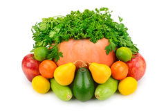 Owoc, warzywa i ziele na białym tle, Obrazy Stock