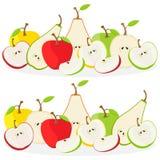 Owoc wektorowa ilustracja: jabłka i bonkrety pojedynczy białe tło Obrazy Stock