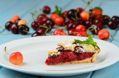 Owoc wiśnie i tort Fotografia Stock