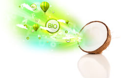 owoc z zielonymi eco znakami, ikonami i Zdjęcie Stock