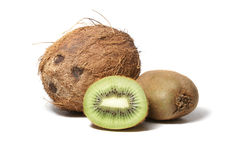 owoce kiwi orzechów kokosowych pojedynczy white Obrazy Royalty Free