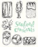 Owoce morza chroni rocznik grawerującego rysującego nakreślenie royalty ilustracja