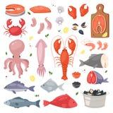 Owoce morza dennej ryba wektorowi shellfish i homar na fishmarket ilustracyjnym rybołówstwie ustawiającym łososiowa krewetka dla  royalty ilustracja