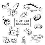 Owoce morza Doodle, ręka rysunku owoce morza style Obrazy Royalty Free