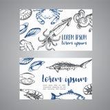 Owoce morza grępluje wektorowego szablonu set Ręki rysować wektorowe ilustracje Nakreślenie krab, homar, garnela dla restauracyjn ilustracja wektor