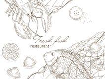 Owoce morza i ryba ilustracji