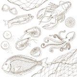 Owoce morza i ryba set ilustracji