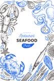 Owoce morza i ryby projekta szablon R?ka rysuj?ca wektorowa ilustracja Karmowy sztandar Mog? u?ywa? dla projekta menu, pakuj?cy,  royalty ilustracja