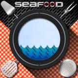 Owoce morza - menu szablon Obrazy Royalty Free